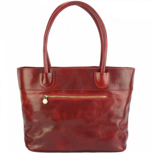 Tote Valeria bag in leather red colour for women
