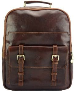 Alexio backpack in leather dark brown colour dark brown last model new design from italy for men