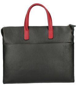 Business bag Cesare from calfskin black red unisex