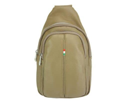Nisula Leather Single backpack light taupe for woman