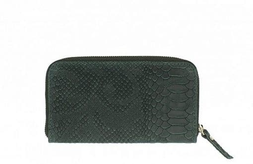 dark green Women's wallet Orlanda in pithone style made of genuine leather from italy