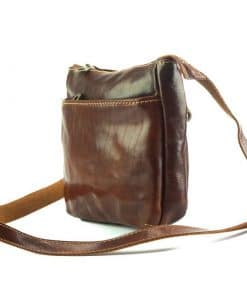 Vitalie cross body leather bag dark brown messenger last model for man