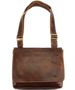 Flap Messenger bag in cow leather Valerio brown for men
