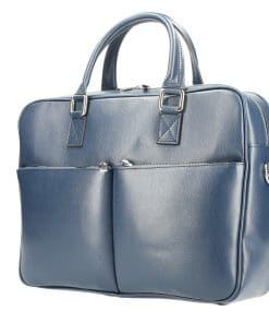 Business bag Mario made of genuine leather blue colour for woman