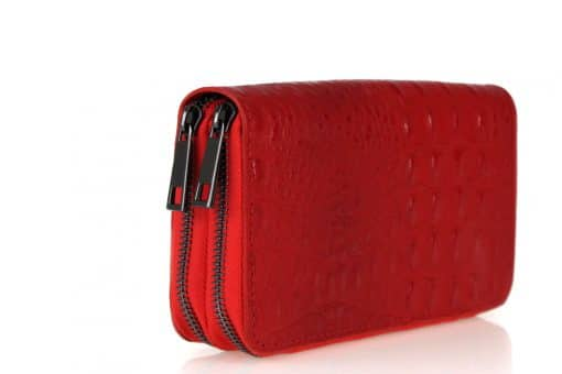 red Women's wallet Cira made of genuine leather in crocodile style from italy last model new