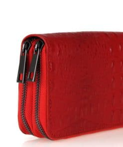 dark red Women's wallet Cira made of genuine leather in crocodile style italian