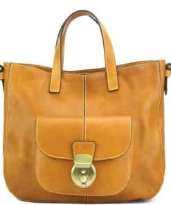 Dominica leather shoulder bag tan colour italian moda for woman