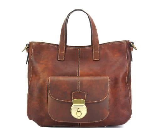 Dominica leather shoulder bag brown colour italian moda for woman