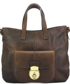 Dominica leather shoulder bag dark brown colour italian moda for woman