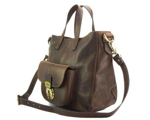 Dominica leather shoulder bag dark brown colour from italy italian moda for woman
