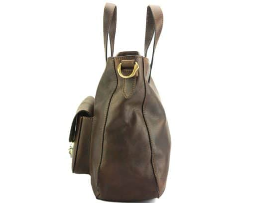 Dominica leather shoulder bag dark brown colour from italy for woman