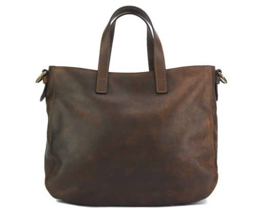 Dominica leather shoulder bag dark brown colour for woman