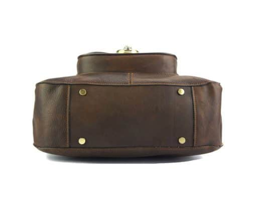 Dominica leather shoulder bag dark brown for woman
