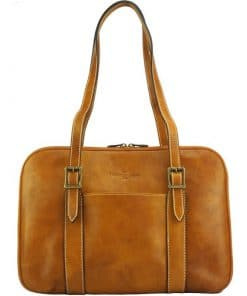 Ilena Shoulder tote in natural cowhide trim from italy new design tan for women