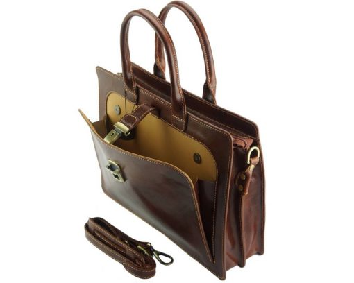 Giacomina leather business bag colour brown for woman