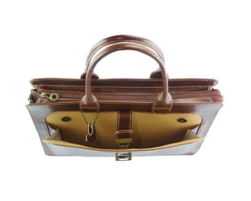 Giacomina leather business bag brown for woman