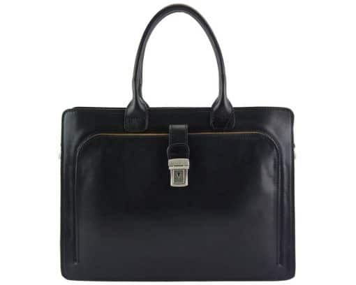 Giacomina leather business bag black for woman