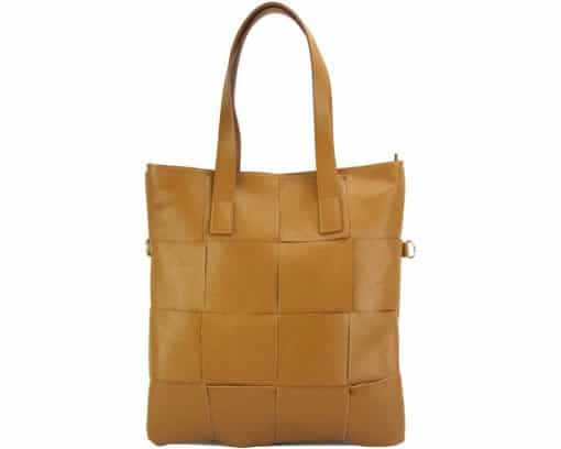 Tote bag CARRY IT Alessandra in Italian cow woven leather tan colour for women