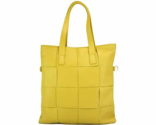 Tote bag CARRY IT Alessandra in Italian cow woven leather yellow colour for women