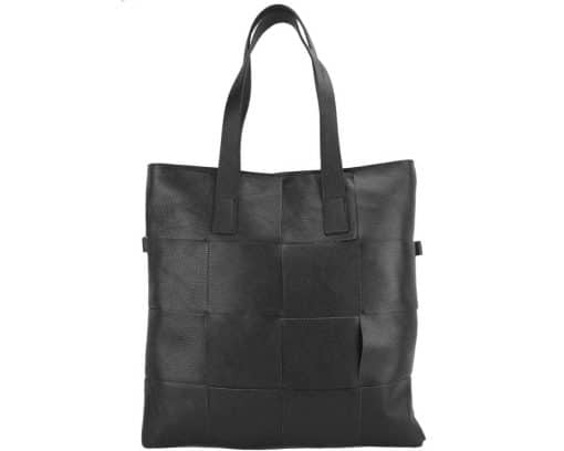 Tote bag CARRY IT Alessandra in Italian cow woven leather black colour for woman