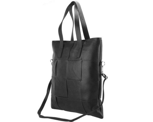 Tote bag CARRY IT Alessandra in Italian cow woven leather black for woman