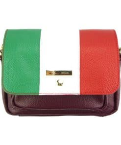 Marineta Waist Shoulder bag in calfskin leather with italian flag colour bordeaux last model for woman