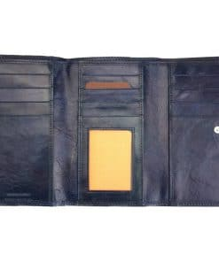 Aurelia leather wallet blue last model from italy italian moda for women