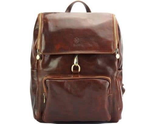 Connorado Backpack in genuine leather brown from italy new designfor man