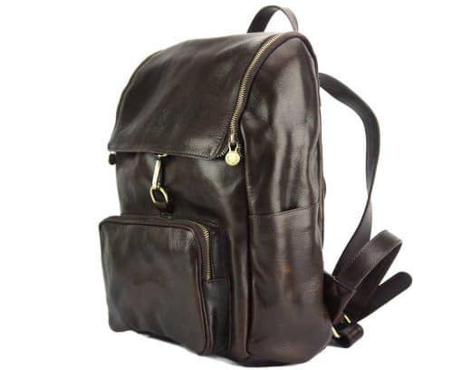 Connorado Backpack in genuine leather dark brown from italy for man
